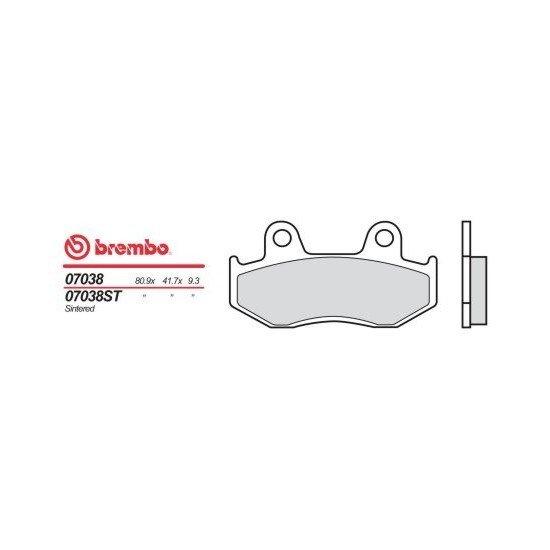 Motocyklové brzdové destičky BREMBO 07038 OE organické (přední+zadní)