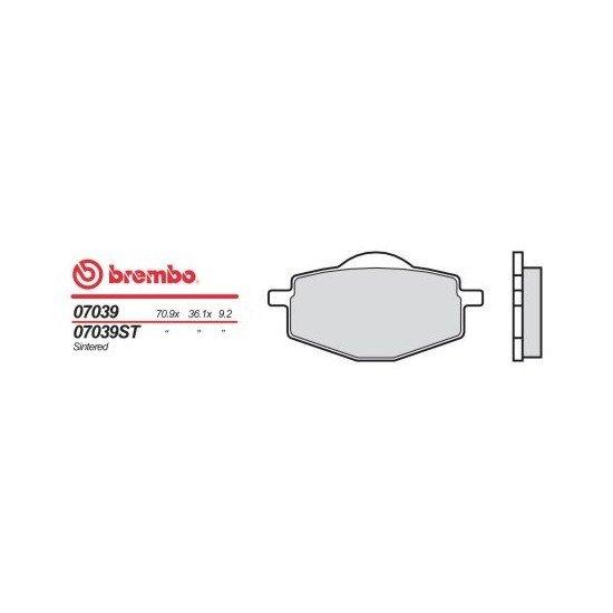 Motocyklové brzdové destičky BREMBO 07039 OE organické (přední+zadní)