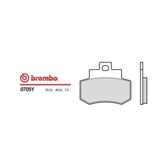 Motocyklové brzdové destičky BREMBO 07051 OE organické (přední+zadní)