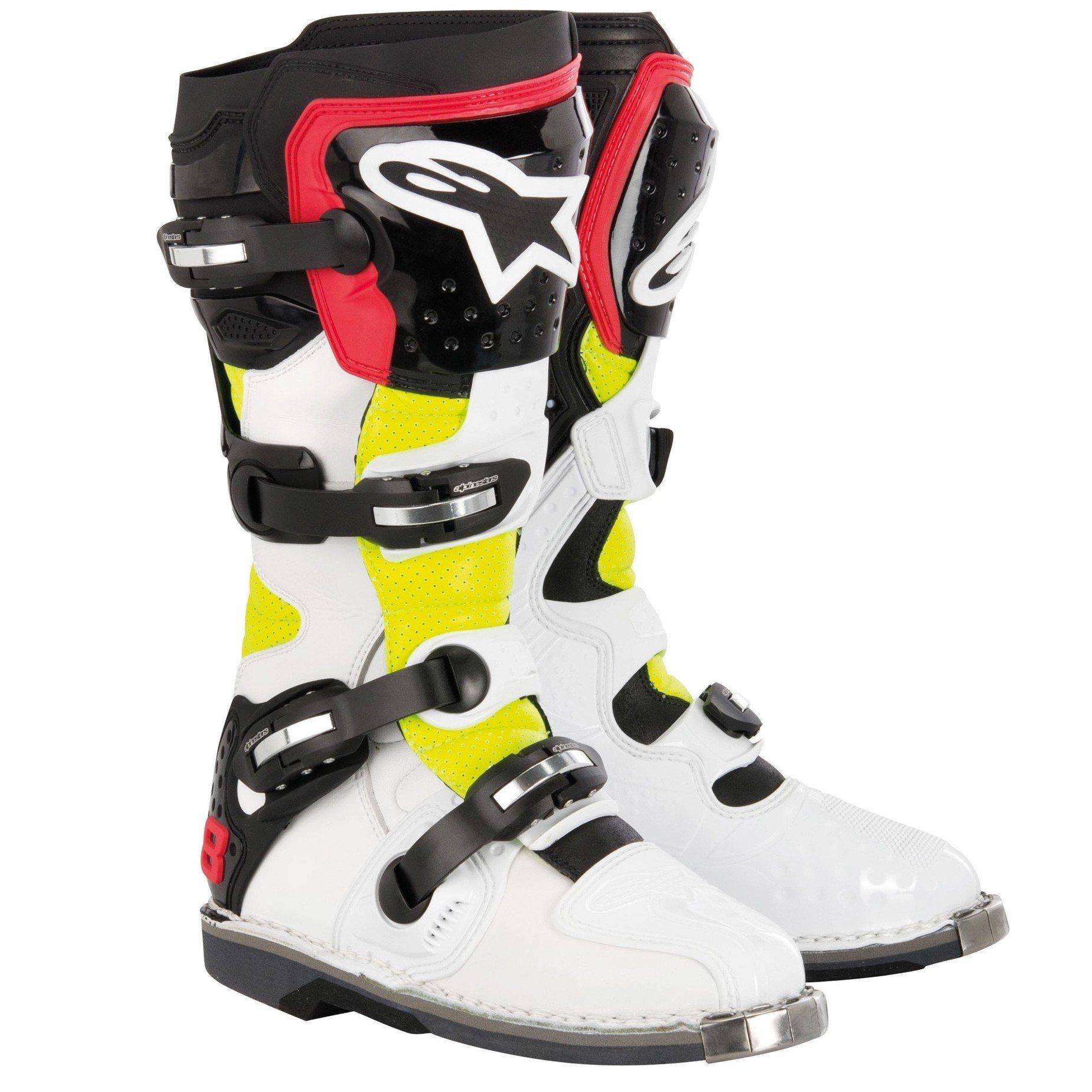 Motocyklové MX boty ALPINESTARS Tech 8 RS (bílo/žluto/červené) 9 (43)