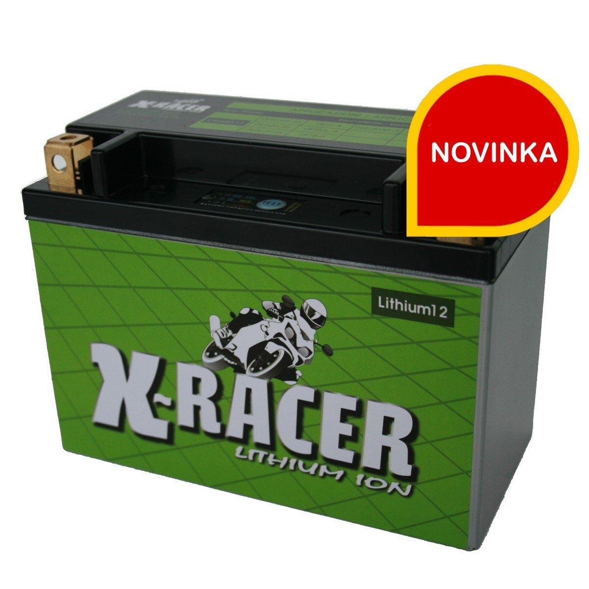 Bezúdržbová motocyklová baterie X-RACER Lithium 12 (12V/24Ah-380A), nahrazuje např. YTX20-BS, YB16-B, YB18-A a Y50-N18A-A...