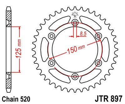 Železná řetězová rozeta JT Sprockets JTR 897-48 KTM/Husaberg/Husqvarna univerzální
