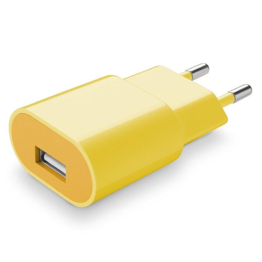 Cellularline Cestovní nabíječka Style&Color žlutá 230V/USB 1A