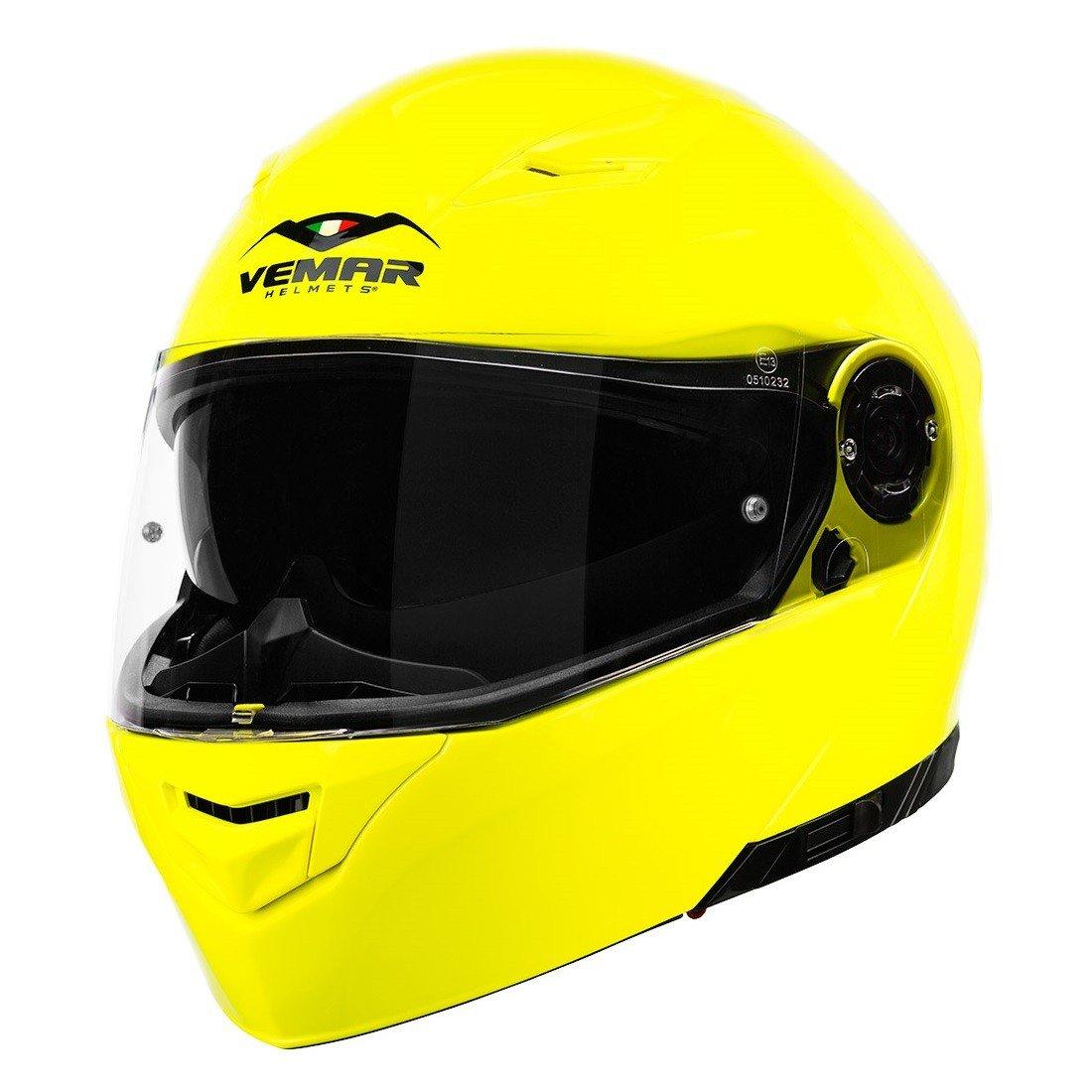 Výklopná motocyklová přilba VEMAR Nashi (neonově žlutá) XXL (63/64)