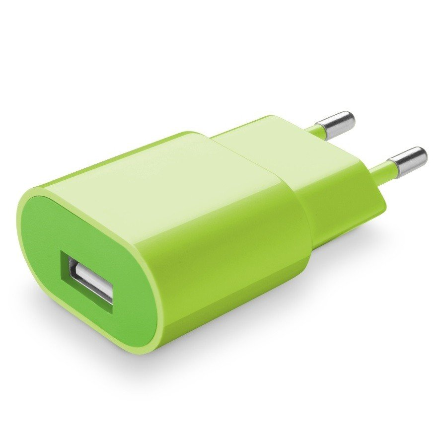 Cellularline Cestovní nabíječka Style&Color zelená 230V/USB 1A