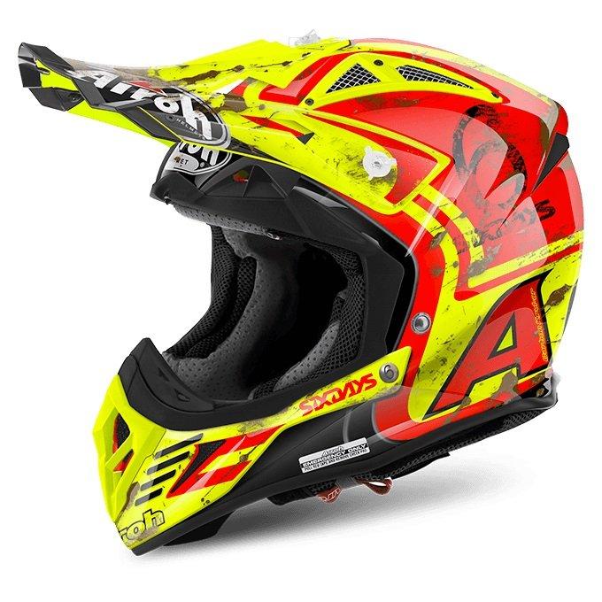 Závodní motokrosová helma AIROH Aviator 2.2 Six Days 2017 (žlutá/červená) S (55/56)