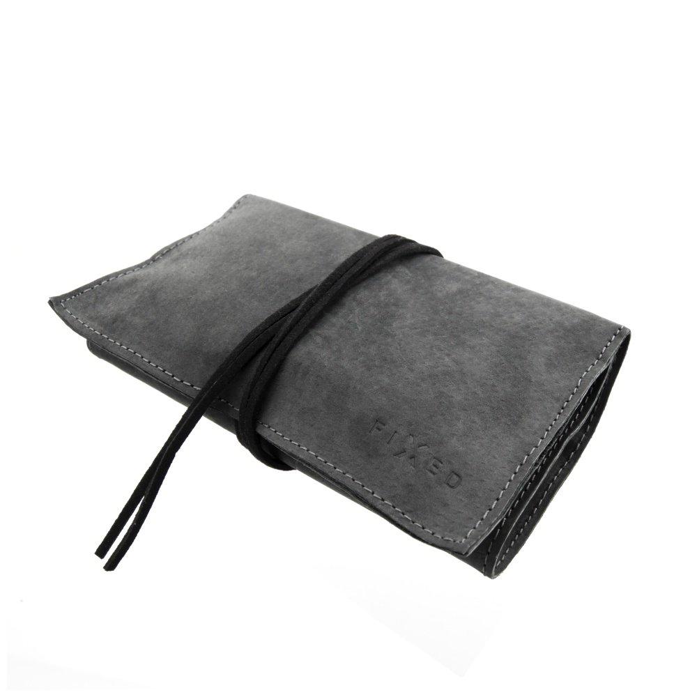 Kožené pouzdro FIXED pro cigaretový tabák, papírky a filtry (černá štípenková kůže) univerzální